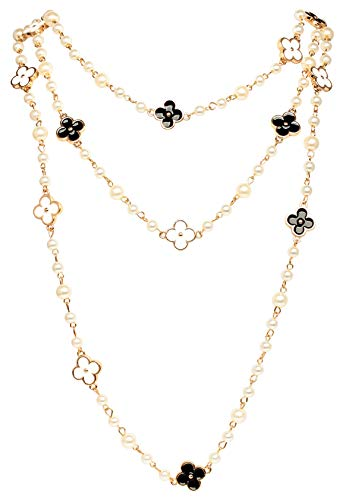 Fashion Jewelry MISASHA Bridal and Chic Long Imitation Pearl Clover Strand Necklace (Black Clover)