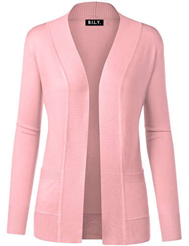 BH B.I.L.Y USA Women's Open Front Long Sleeve Classic Knit Cardigan Baby Pink Large
