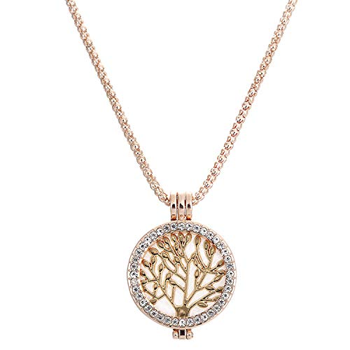 Xch Women 925 Sterling Silver Tree of Life Crystals Pendant Necklace,Beige