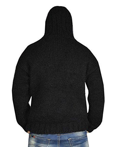 Beautife Mens Hooded Long Sleeve Casual Loose Cable Knit Sweater Pullover Hoodie (Drawstring Wool Sweater)