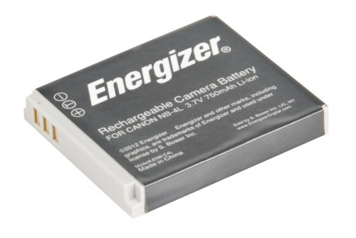 Energizer ENB-C4L Digital Replacement Battery NB-4L for Canon IXUS 120 IS, 30, 50, 80 and PowerShot SD1000 and TX1 (Black)