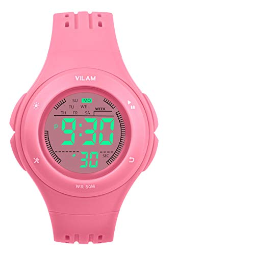 Kids Watch Waterproof Children Electronic Watch - Lighting Watch 50M Waterproof for Outdoor Sports,LED Digital Stopwatch with Chronograph, Alarm, Child Wrist Watch for Boys, Girls - PerSuper (Pink) by PERSUPER
