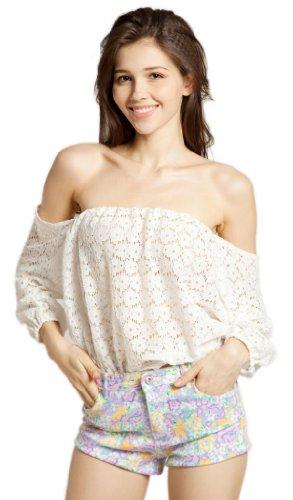 LookbookStore Women Lace Crochet Cut Out Eyelet Elastic Shoulder Blouse Shirt