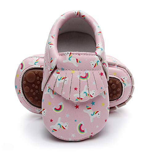 Bebila Baby Moccasins Printing Tassels Rubber Sole Leather First Walkers Toddler Bebe Shoes Boys Girls (US 6M/5.12''/13cm 12-18Months, Model-8) -