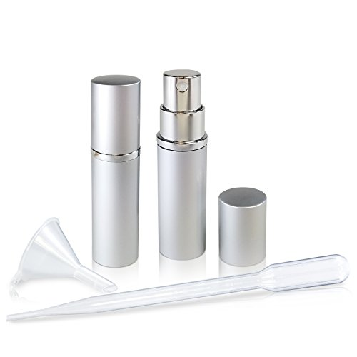 Refillable Glass Perfume & Cologne Fine Mist Atomizers with Metallic Exterior - Portable Travel Size - 3ml Squeeze Transfer Pipette Included - 2 Pc Pack of 5ml (Silver) (Pump Pack Bottle Case)