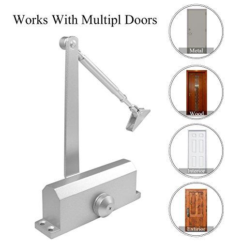 Aluminum Door Closer,99lbs - 132lbs Automatic Adjustable Heavy Duty Auto Door-Closer Self Closing Door Overhead Fire Rated Door Closer for Residential/Commercial Use by Estink (Image #2)