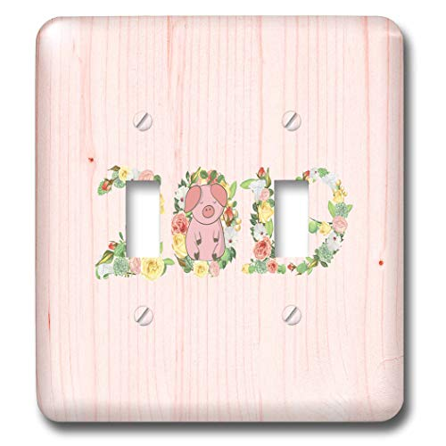 3dRose Beverly Turner Chinese New Year Design - Flowered 2019 with Pink Pig on Zero, Pink Wood Look, Chinese New Year - Light Switch Covers - double toggle switch (lsp_287013_2)
