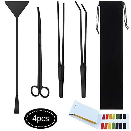 Aquarium Aquascaping Tools Kits Black, 4 in 1 Aquatic Plant Aquascaping Tool Stainless Steel Anti-Rust Scissor Tweezers…