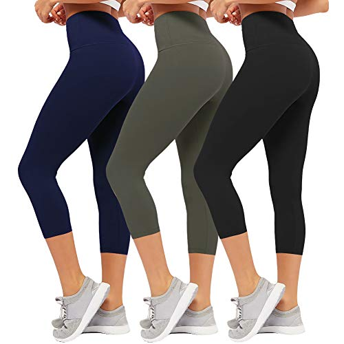 CAMPSNAIL Plus Size High Waisted Leggings for Women Yoga Pants Seamless Capri Leggings Compression Workout Leggings