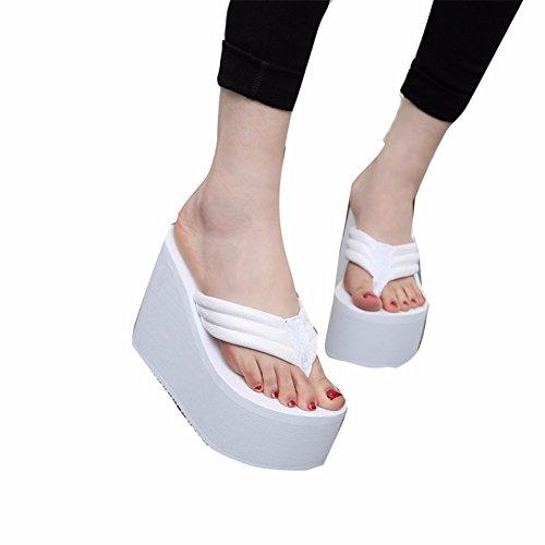Mujeres Las Heeled Veraneo Sandalias White Zapatos De High Playa Clip Deslizante YUCH De Derechos 1UfUx