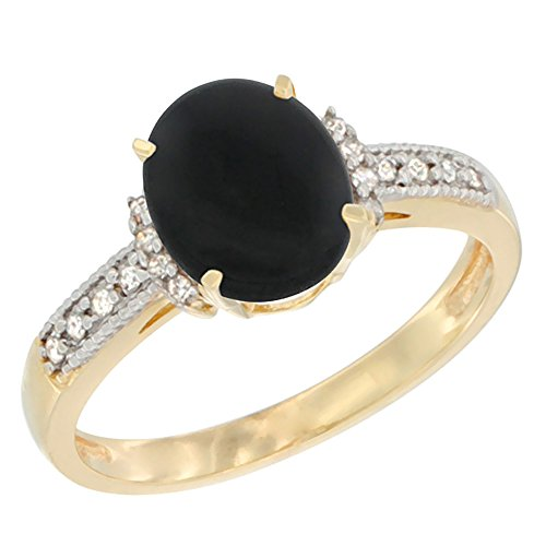 14K Yellow Gold Natural Black Onyx Ring Oval 9x7 mm Diamond Accent, size 7 14k Gold Oval Onyx Ring
