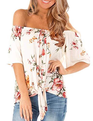 Top Flower Tube - CILKOO WomensCasualFloralPrintedOffTheShoulderTopsButton Down Chiffon BlouseShortSleeveLooseVacationT-Shirt White US8-10 Medium