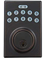 AmazonBasics Contemporary Electronic Keypad Deadbolt Doot Lock, Keyed Entry, Oil Rubbed Bronze