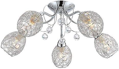 Luz de techo de cristal Moderna sala de estar de 5 cabezas Comedor Dormitorio Luces de cristal Luces creativas, cromo, 28X25X22CM