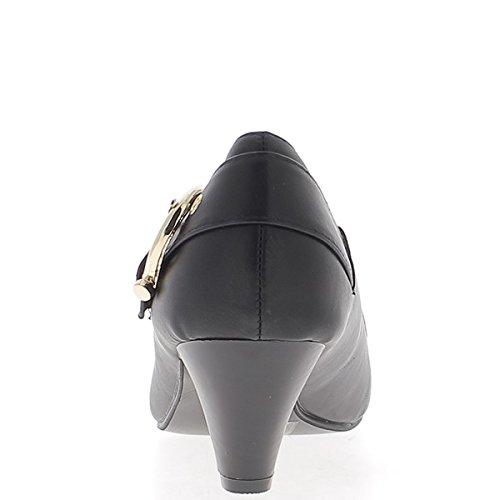 Negro bombas de tacón de tamaño 6cm decoración hebilla de metal dorada