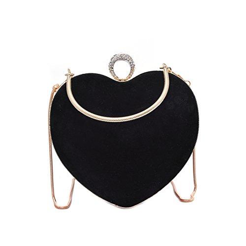 Zarapack Women's Black Black Suede Heart Shape Bag Heart Shape Bag Shoulder Bag