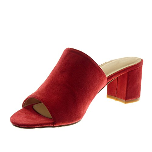 Angkorly Damen Schuhe Sandalen Mule - Slip-On - Modern Blockabsatz High Heel 5.5 cm Rot