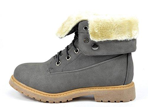 DREAM PAIRS Damen Winter Kunstpelz gefütterte Kragen Gummi Outsole Snow Ankle Boots Booties Montreal-grau