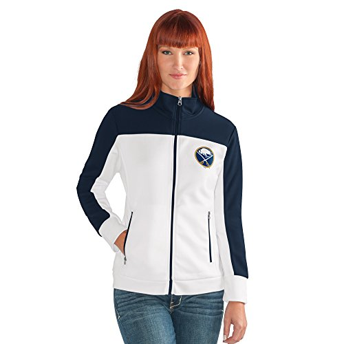 GIII For Her NHL Buffalo Sabres Women's Play Maker Track Jacket, Large, White ()