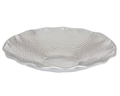 Round Metal Dry Fruits / Cookies / Fruits / Bread Serving Platter Tray Modern Silver Hammered Finish Kitchen Dining Parties Serveware Accessories