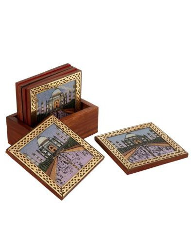 Rangsthali Tajmahal Designer Gemstone Wooden Tea Coster Set Of 6 Pcs by Rangsthali (Image #2)