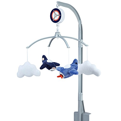 Carter's Take Flight Airplane/Cloud Nursery Crib Musical Mobile, Blue, Navy, Grey, Orange