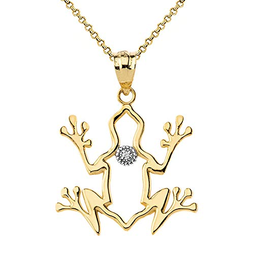 10k Yellow Gold Solitaire Diamond Frog Outline Spirit Animal Pendant Necklace, 18