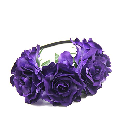 DreamLily Women's Hawaiian Stretch Flower Headband for Garland Party BC12(Purple)]()