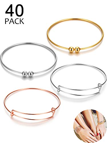 40 Pieces Women's Stainless Steel Blank Bangles Expandable Bangle Bracelet, Adjustable Wire Blank Bracelet Jewelry Findings for DIY Jewelry Making Charm Bracelets (Rose Gold, Silver, Gold) (Pieces Charm Bracelet)