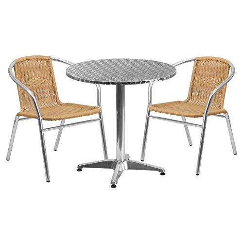 Round Aluminum Patio Furniture Dining Set, Aluminum Beige
