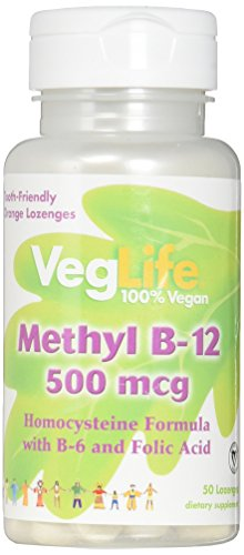 Mcg 50 Lozenges (VegLife Methyl B-12 Lozenge, 500 mcg, Citrus, 50 Count)