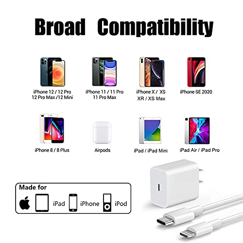 iPhone 12 Charger,Fast Charger iPhone [Apple MFi Certified] Type C Charger USB C to Lightning Cable 20W Apple Charger Power Adapter PD Block for iPhone 12 Mini/12 Pro Max/iPhone 11/XS/XR/X/8 and More