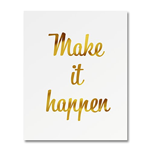 """UPC 745844622260, """"Make It Happen"""" Gold Foil Art Print Small Poster - 300gsm Silk Paper Card Stock, Home Office Wall Art Decor, Inspirational Motivational Encouraging Quote 8"""" x 10"""""""