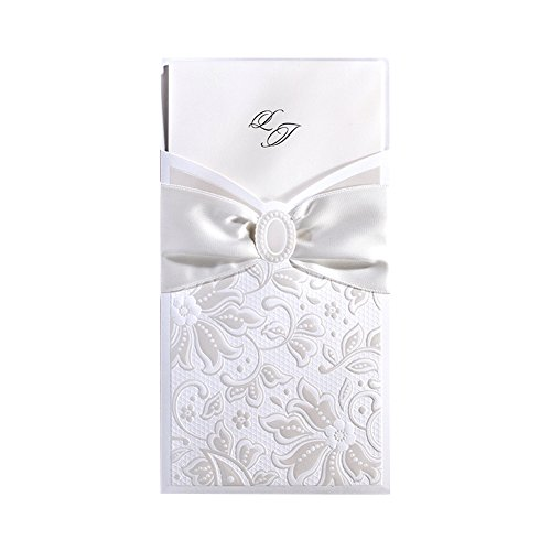 "50X WISHMADE 4""X 8""White Flora Design Embossed Elegant Wedding Invites Invitation Holder Pocket with Envelope Handmade Ribbon for Engagement Bridal Shower Birthday Party CW5193"