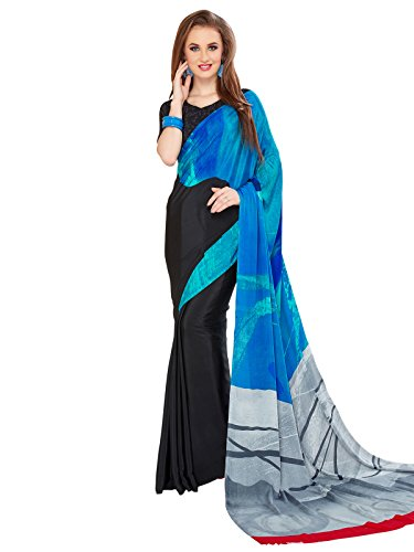 KANCHNAR Women's Crepe Silk Grey and Blue Printed Casual Wear Saree