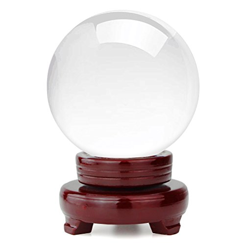 hblife Clear Crystal Ball 5 Inch (130mm) Including Wooden Stand and Gift Package for Family Decorative Figurine Fortune Telling