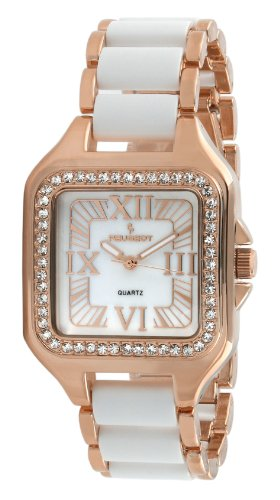 Peugeot Women's 7060RG  Swarovski Crystal Bezel Rose Gold and White Acrylic Bracelet Watch