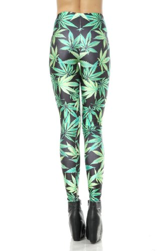 LoveLiness Green Marijuana Leaf Digital Print Leggings