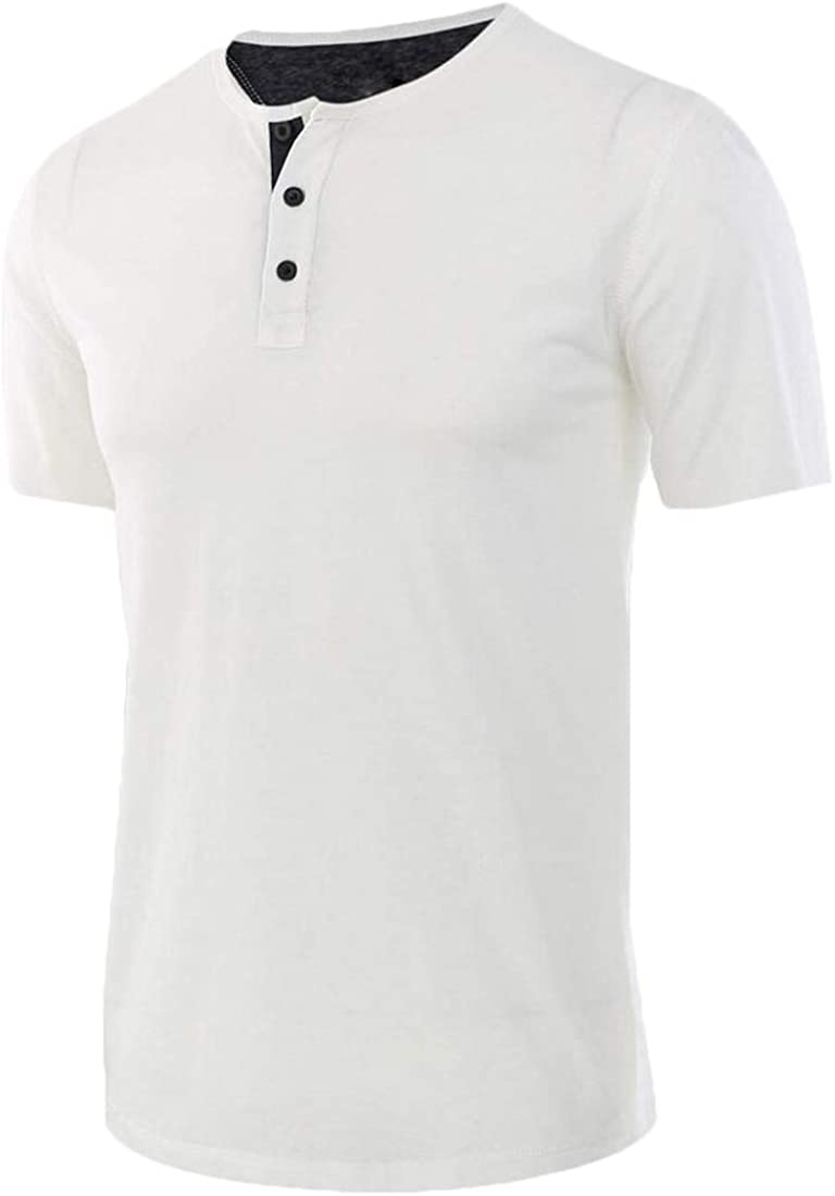 Generic Mens Short Sleeve Fitness Slim Henly Shirts with Button