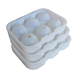 Riverbyland White Rubber Ice Ball Trays 6 cubes Set of 3