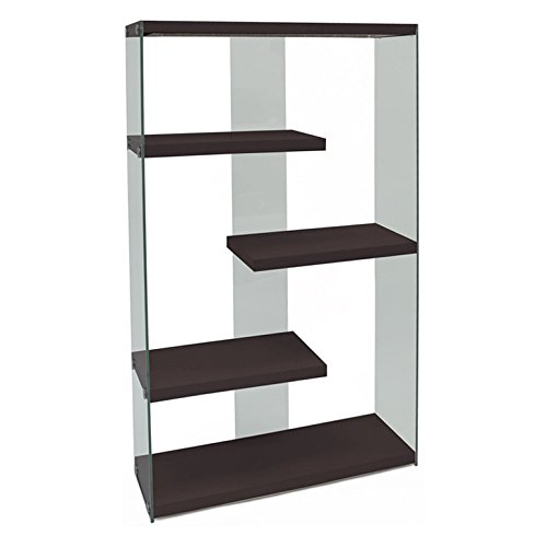 Tempered Bookshelf Glass (Monarch Specialties I 3284 Cappuccino with Tempered Glass Bookcase, 60