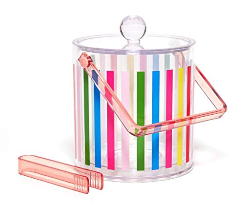 ban.do Party On Double Wall Plastic Ice Bucket with Lid, Handle, & Tongs, block -