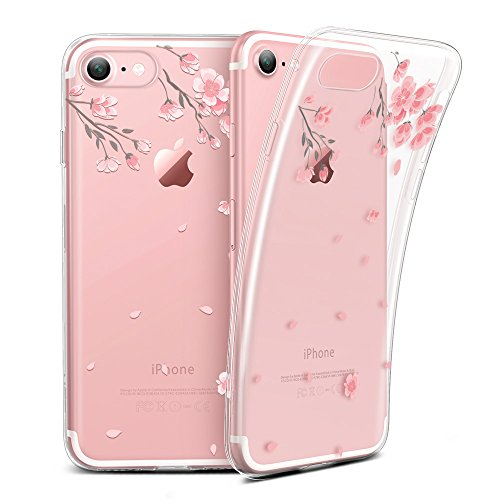 Cherry Cell Phone Case - ESR Case for iPhone 6/6s, Soft Gel TPU Silicone Case Clear with Design Cute Cartoon Slim Fit Ultra Thin Protective Cover for 4.7 inches iPhone 6 /iPhone 6s_Cherry Blossoms