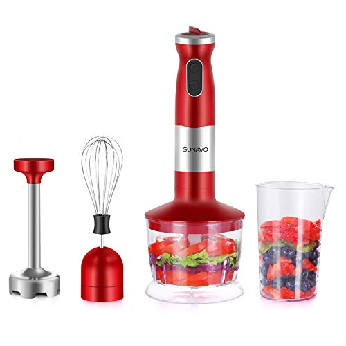 SUNAVO BL-08 Hand Immersion Blender Electric 700W Powerful Hand mixer Multi-Purpose Hand Stick 4-in-1 Hand Stick Blender with Variable Speed and Turbo Control Mother's Day Gift