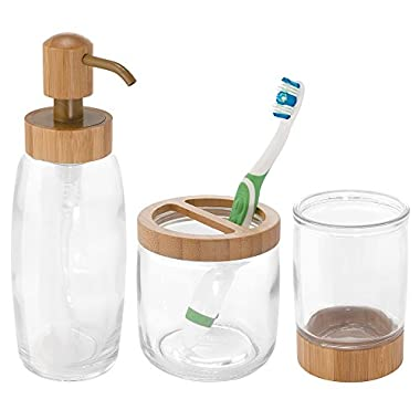 InterDesign Kane Glass Bath Accessories Combo (Set of 3), Clear/Natural