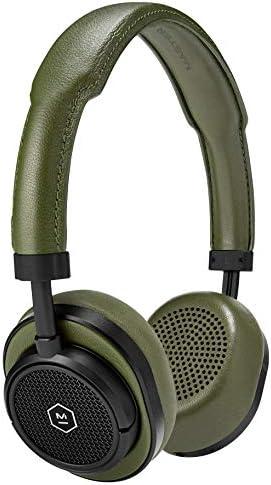 Master Dynamic MW50 Wireless On Ear Headphones, Black Metal Green Leather