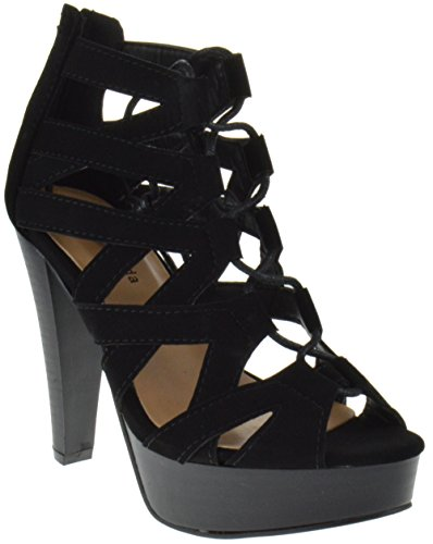 Table 8 Peep Toe High Heel Lace up Strappy Pumps Black ()