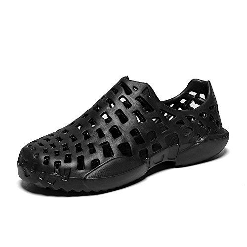 Hivot Men's Unisex Mules Clogs Sandals Slip-Proof Flat Slippers Wild Soft Shoes Hollow Out Beach Shoes Couples Sandals ()