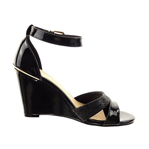 Sopily - Zapatillas de Moda Sandalias Tobillo mujer piel de serpiente patentes Hebilla Talón Plataforma 9 CM - plantilla sintético - Negro