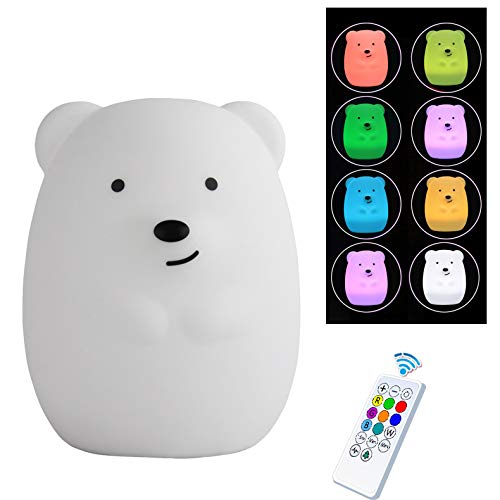 Night Light for Children, Night Lamp Cute Animal Silicone Baby Night Light with Touch Sensor and Remote (Bear)